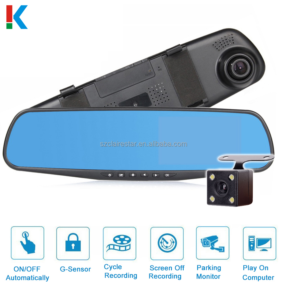 "4.3"" 1080P HD Car DVR Vehicle Dual Lens Anti-glare Blue Mirror Video Driving Recorder Wide Angle Dash Cam"