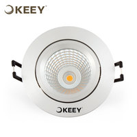 KEEY Brushed Silver Aluminum Cut-out 75mm Residential Lighting CREE COB 6W Ultra Slim Led Downlight QYE1-TH314