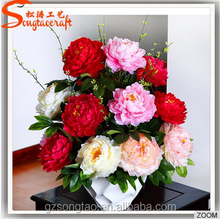 Hot Selling Fake Cheap Plastic Artificial Peony Silk Flowers for Decoration