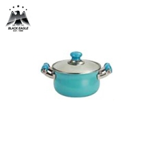 Traditional enamel coating casserole with glass lid