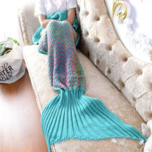 Knitted Colorful fish scales Mermaid Tail Blanket