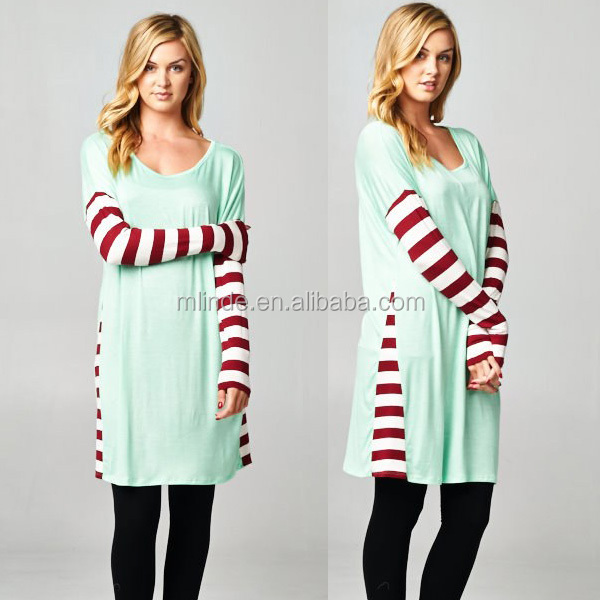 holiday dress custom plus size long sleeve tunic dress stripe daliy wear casual names of ladies clothing brands