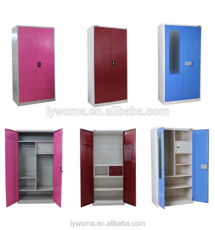 Modern Bedroom Design 3 Door Blue Colour Steel Wardrobe