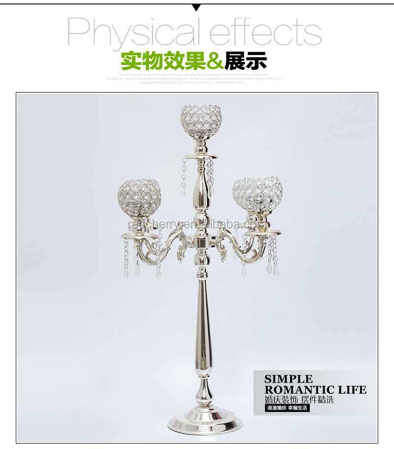 Tall Glass Candle Holders /crystal glass candlestick Candelabra for wedding decoration/FIve lights crystal
