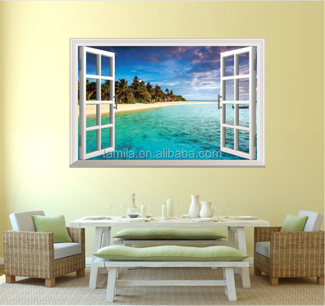 3d sea beach panorama view finestra in pvc adesivo murale - Adesivo murale finestra ...