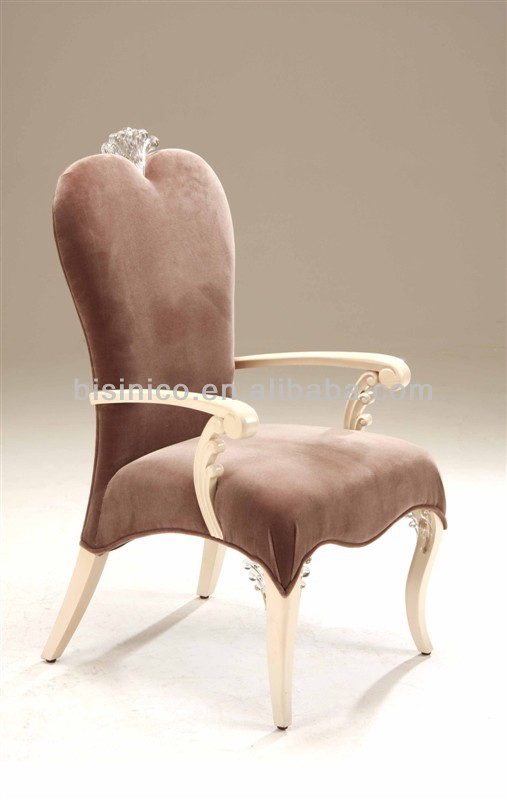 Luxury wooden dining room heart shape armchair in light brown color