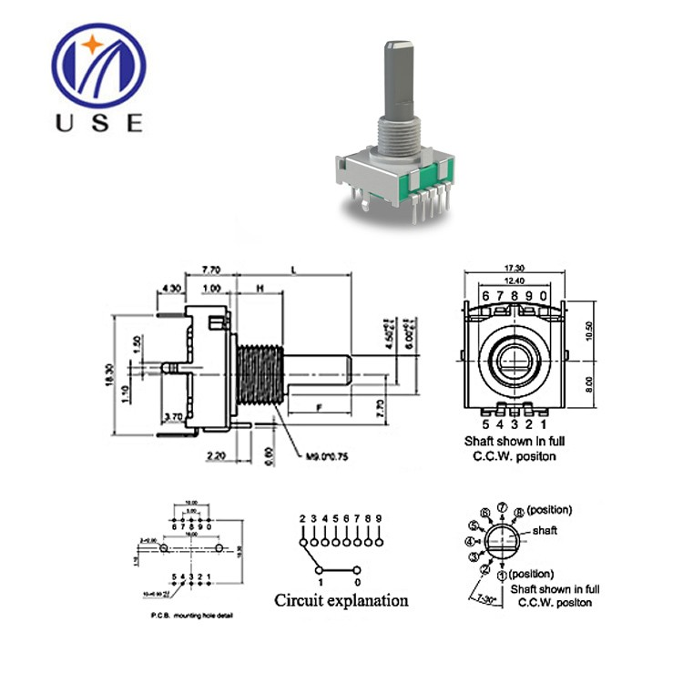 10ma rotary radio volume control switch