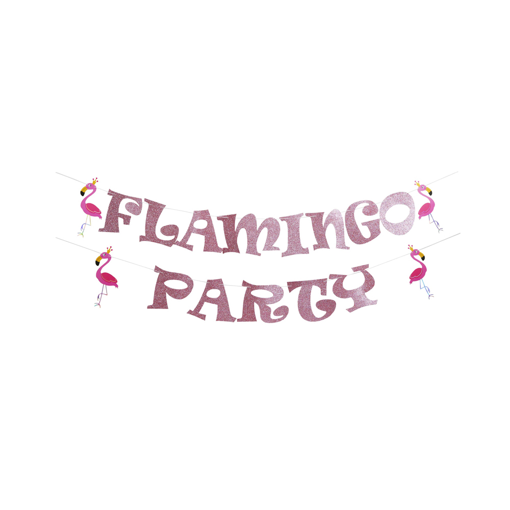 Flamingo Paper Banner - Upgrade Version Tropical Style Hanging Bunting for Wedding Baby Shower Event & Party Supplies