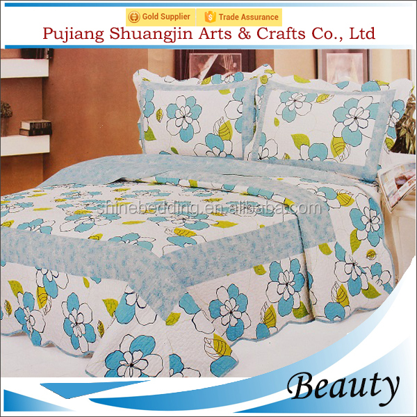 Customize adult used 200gsm cotton filling cheap floral hand stitch bed sheet