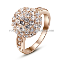 R359 Hot sale unique beautiful wedding rings 18k yellow gold rings jewelry golden crystal rings