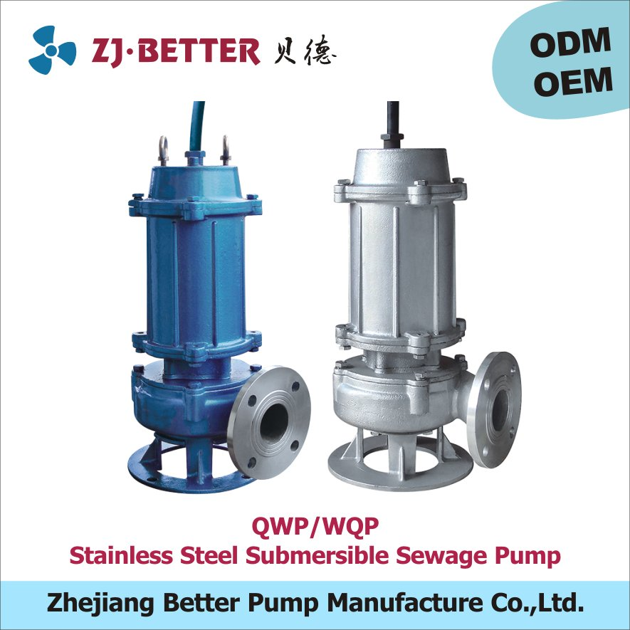 WQP stainless steel centrifugal electric submersible sewage pump price