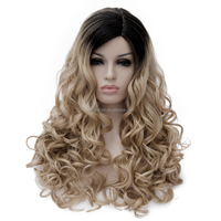 Lady Long Wavy Gradient Colore Black To 100% Heat Resistant Synthetic Hair Halloween Cosplay Wig Head Ombre Wig