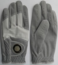 Golf glove made of microfiber with breathable mesh and ball marker
