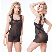 Fantasy Black erotic girls sheer transparent nighty sexy wear see through lingerie Teddy Babydoll