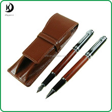 Jinhao Rose Wood Fountain Pen Roller Ball Pen Leather Pen Case Set JD-SL009