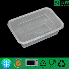1250ml food grade plastic food containers for microwave use /clear biodegradable packaging