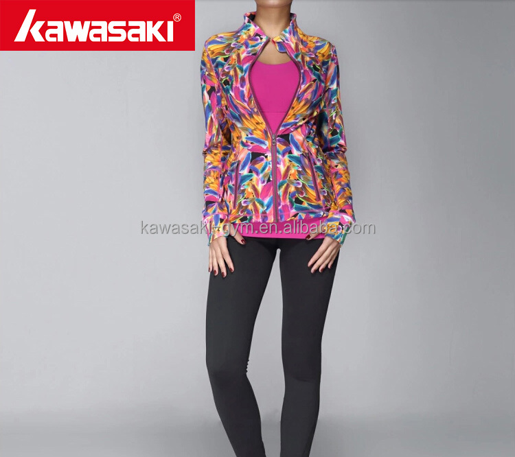 Oem Design Sublimated Womens Fitness Wear Full Length Thumb Holes Yoga Fitness Jacket