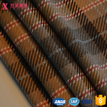 YC13291 20%wool 30%polyester 50%acrylic camel medium weight woolen tartan plaid wool twill fabric for coats