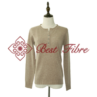 yak down ribbed round neck pullover/sweater with ribbed cuffs for ladies