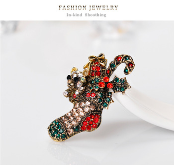 Gorgeous Christmas Crystal Rhinestone Sock Brooch Pin Colorful Christmas Gift Sock Brooch