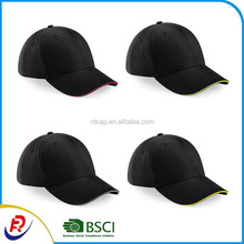 China manufactory Flexfit cheap 6 panel promotion baseball cap blank cotton brushed balck sports cap with sandwich