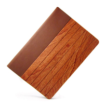 Wood and leather flip cover with stand for ipad air