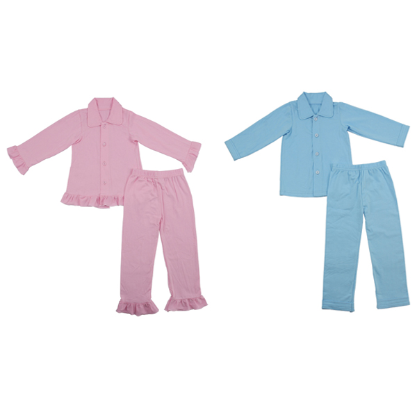Hot Sale Pretty Baby Girls Boutique Remake Pink/ Blue Pajamas Clothes Valentines Boutique Pajamas
