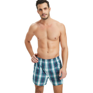 100% Cotton Plus Size Boxers Men Plaid Underwear