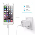 USB Wall Charger,ULTRA COMPACT Dual Port 2.4A Output & Foldable Plug travel charger for iPhone iPad Samsung & Others-White