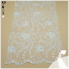 Wholesale fancy embroidery hand beaded lace curtain fabric DH-BF706