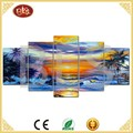 italian modern seascape 5 panels sunrise canvas painting