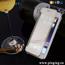 Ultra-Thin Electroplating PC Mirror PU Leather Wallet Flip Cove Case For Iphone 6 Dot View Case For Iphone 6