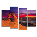 Nature Landscape Pictures and Photos Canvas Painting 4 Panels Delicate Arch Giclee Printing on Canvas