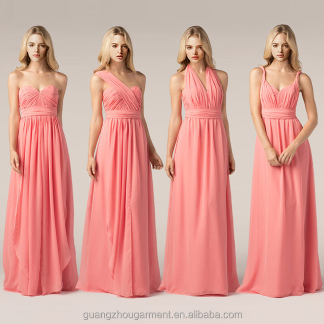 China latest evening party dress designs for bridesmaid Convertible multiway royal blue Chiffon maxi Gown Dresses