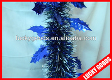 artificial wire blue christmas garland decoration