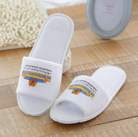 5-star hotel bathroom anti-slip slippers, white terry cloth open toe with embroidery logo