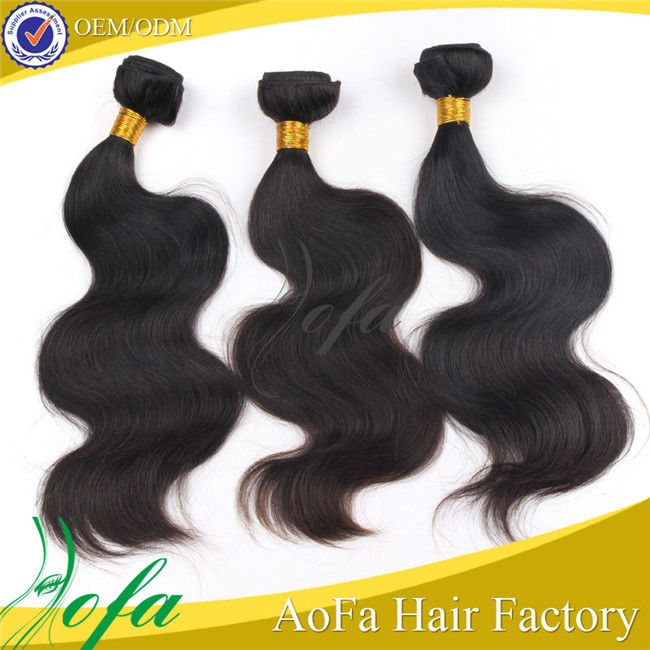 Wholesale body wave jet black color high quality virgin brazilian remy clip-in hair extensions