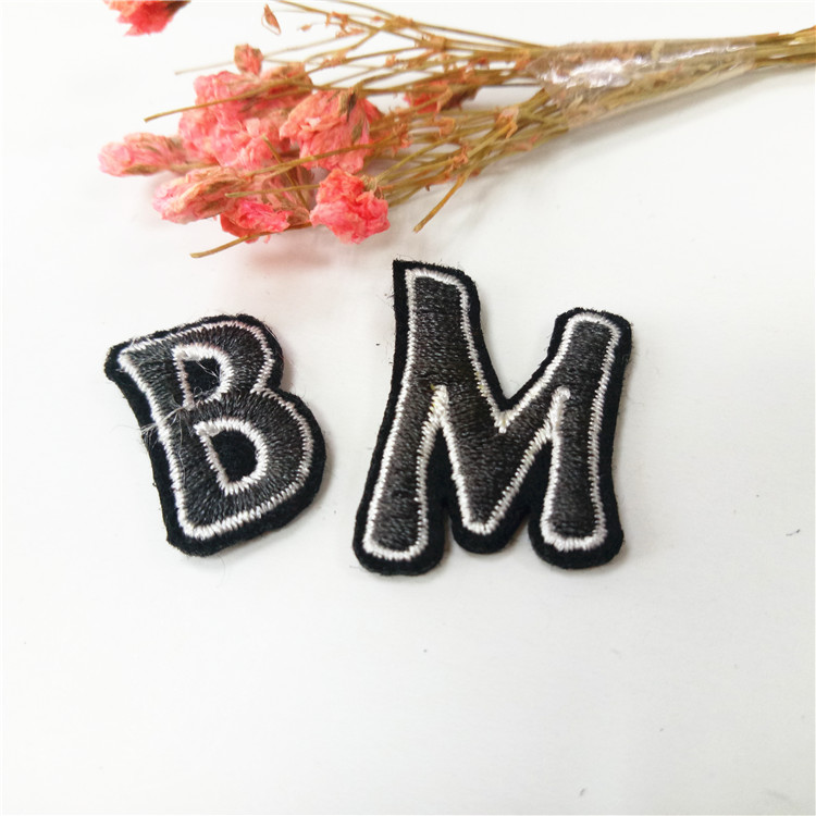 wholesale small sew on embroidery letter patches for hat clothing