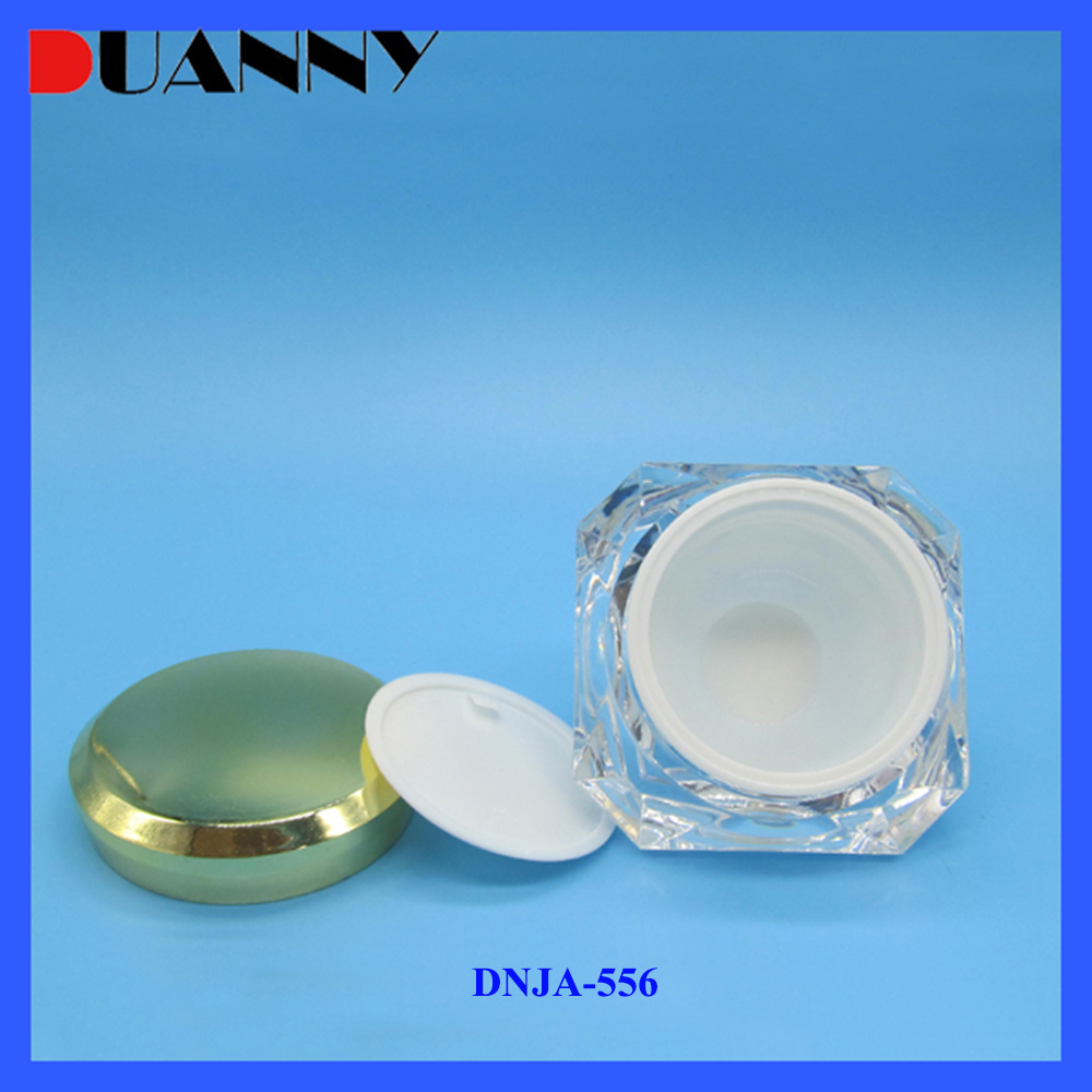 Colored Diamond Shape Plastic Acrylic Cosmetic Jar, Luxury Skin Care Plastic Cosmeitc Cream Jar White Color 15G 30G 50G