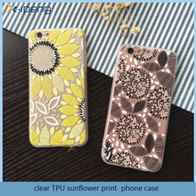 Best selling mobile accessories clear TPU sunflower print cover case for samsung galaxy beam i8530