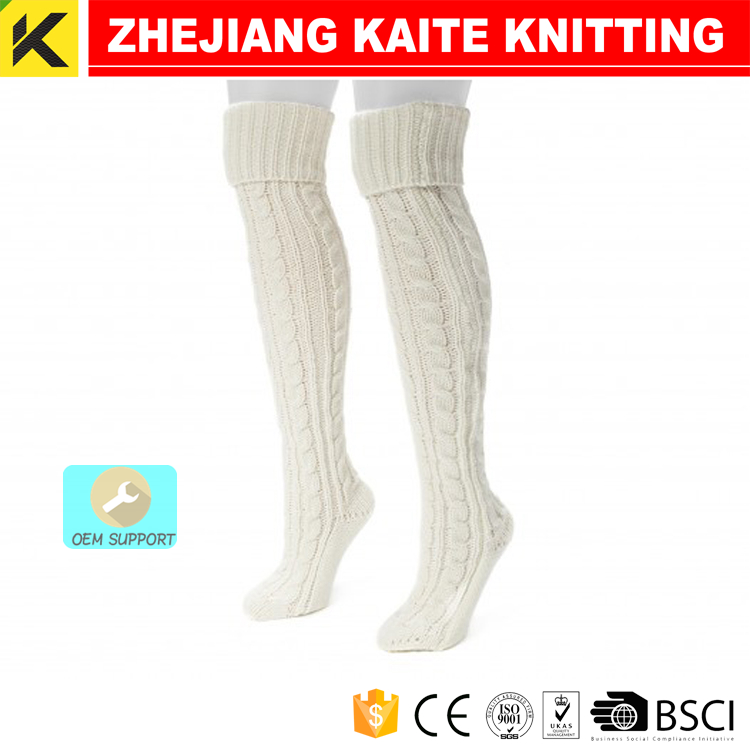 KT-P-0831 cable knit knee high boot socks