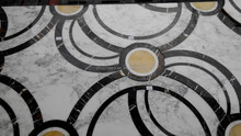 Rectangle waterjet marble floor medallions stone pattern tiles flooring