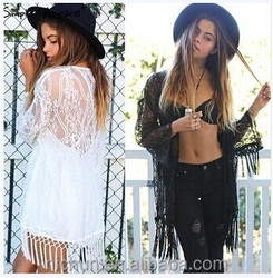 Sexy Women See Through Lace Kimono Cardigan Shirt Blouse Tassels Top