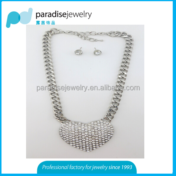 2016 Chunky fashion alloy Necklace set with earrings factory price