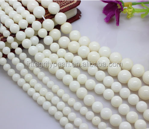 8mm 4mm Round Natural White Coral beads gemstone strand