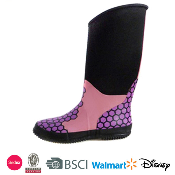 Rain Boot Nice Woman Pink Neoprene Rubber Boot Rubber Rain Boots Latex Fashion Thigh High Botas Waterproof China Supplier D115