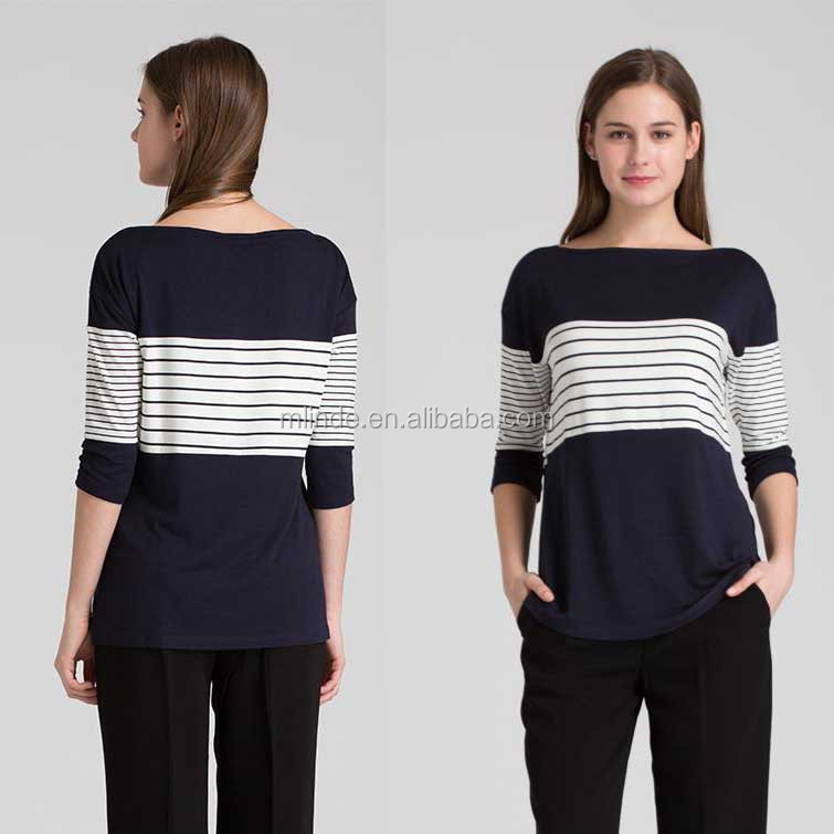 Women Blouses Navy Blue White Classic Striped Spell Color Knitted Long-sleeved Shirts Blouses Tops Wholesale
