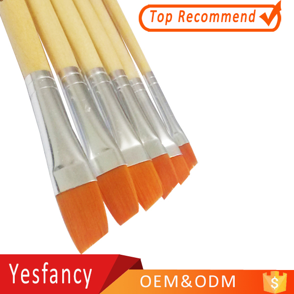 high quality gold nylon brush paint brush wood handle taklon artist brush
