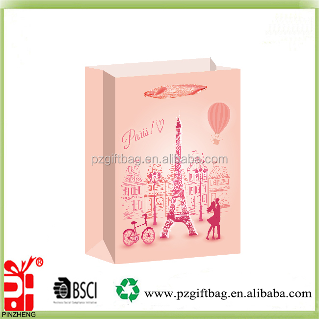Newest everyday design Eiffel tower gift paper bag printed wholesale