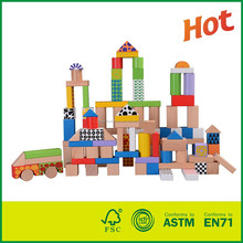Good Quality CE 100pcs Non-toxic Kids Wooden Building Blocks